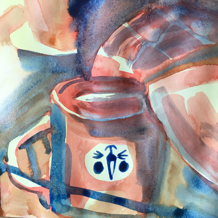 Detail of Watercolour Sketchbook Drawing of washing up, by Jo Blaker