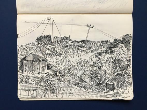 Observational Landscape Sketchbook Drawing by Jo Blaker