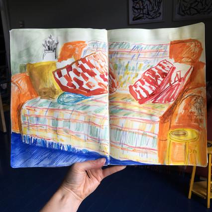 Watercolour Sketchbook Drawing of sofa by Jo Blaker