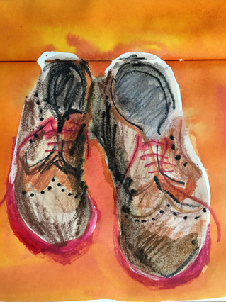 Watercolour Sketchbook Drawing of shoes by Jo Blaker