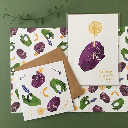 Gift Set - Dandelion Print, Card & Wrap