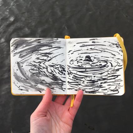 Ink Sketchbook Drawing of outdoor simmer by Jo Blaker