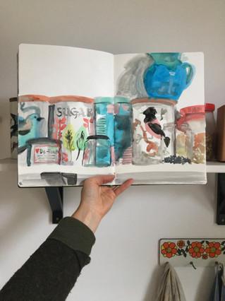 Watercolour Sketchbook Drawing of kitchen jars by Jo Blaker