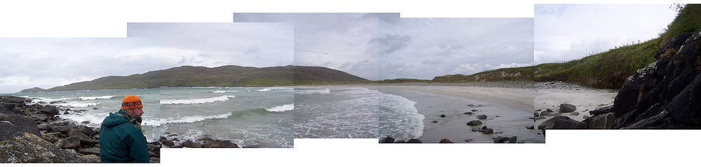 a collage of photos depicting the west bay on Vatersay