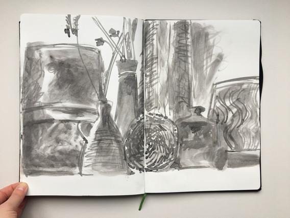 Ink Sketchbook Drawing of ceramics by Jo Blaker