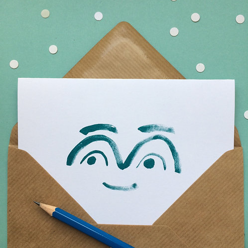 Smiley face teal risograph greetings cards