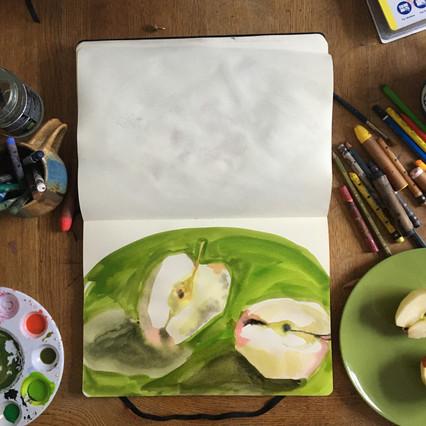 Watercolour Sketchbook Drawing of apples by Jo Blaker