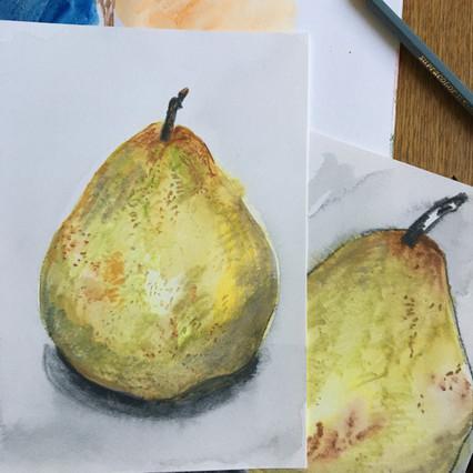 Watercolour Sketchbook Drawings of pears by Jo Blaker