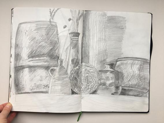 Pencil Sketchbook Drawing of ceramics by Jo Blaker