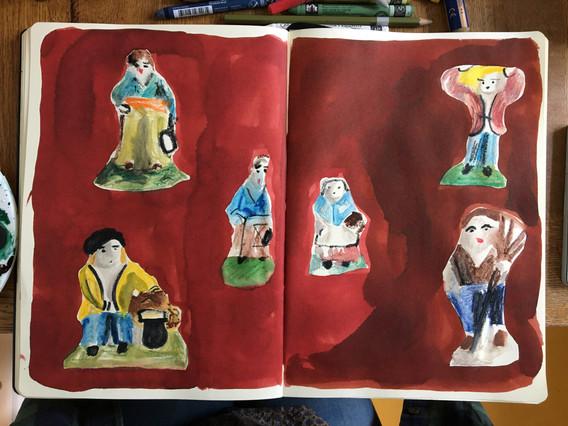 Watercolour Sketchbook Drawing of ferves by Jo Blaker
