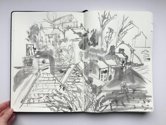 Ink Sketchbook Drawing of Holmfirth rooftops by Jo Blaker
