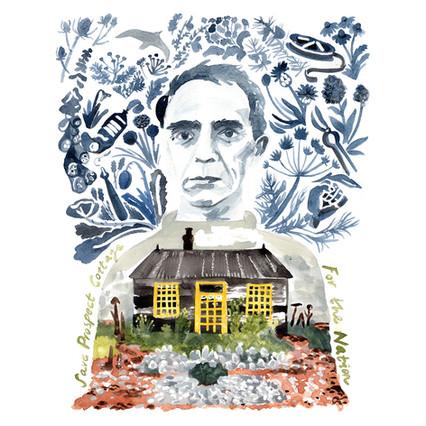 Illustration Outcome - Derek Jarman, Save Prospect Cottage fundraising artwork by Jo Blaker