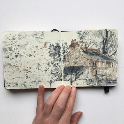 Watercolour Sketchbook Drawing of Yorkshire cottages by Jo Blaker