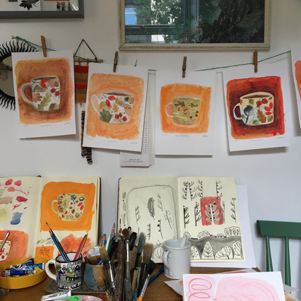 Watercolour Illustration Outcomes, 'Cup of Autumn' artworks by Jo Blaker