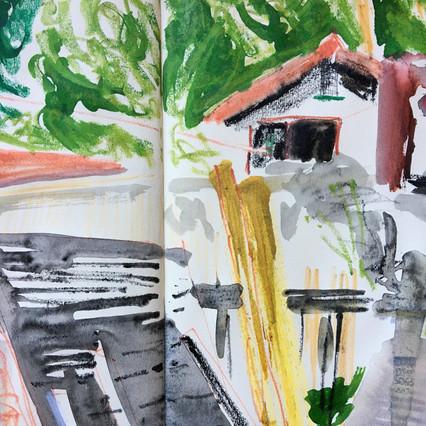 Detail of Watercolour Sketchbook Drawing of backyard scene, by Jo Blaker