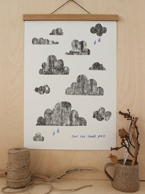 Black white Blue Clouds Risograph Print