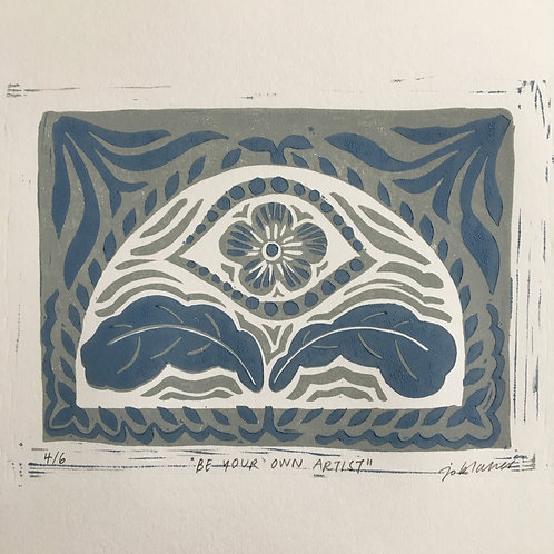 Grey/Blue Linoprint - Be Your Own Artist