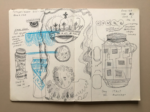 Observational Sketchbook Drawing of Ceramics from the V&A collection, by Jo Blaker