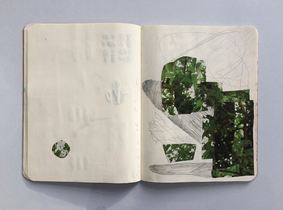 Collage & Graphite - Sketchbook page by Jo Blaker