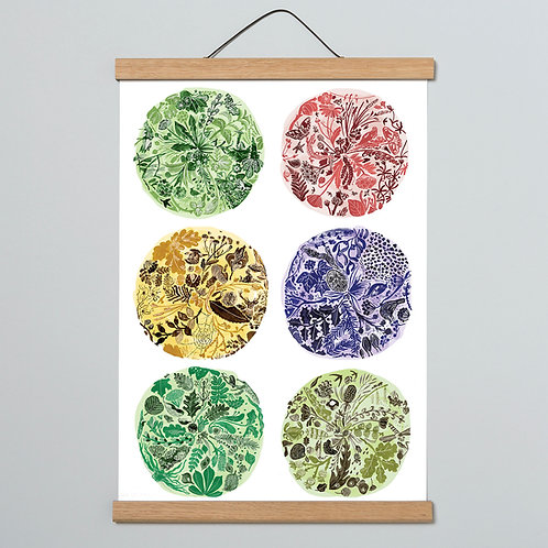 multi coloured seasonal nature print