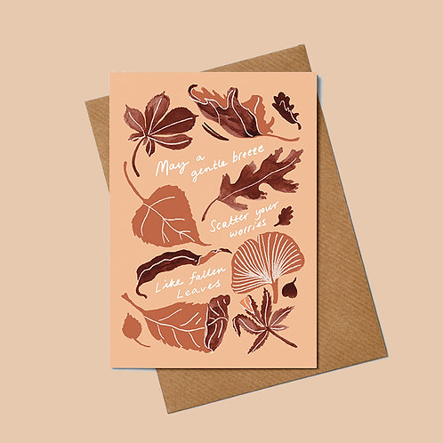 Leaf Greetings Card with message on buff background