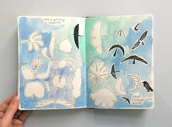 Exploratory Sketches in Sketchbook by Jo Blaker