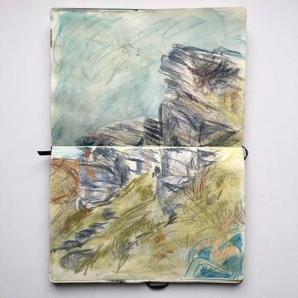 Watercolour Sketchbook Drawing of moorland crags by Jo Blaker