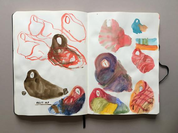 Illustration Development Sketchbook pages by Jo Blaker