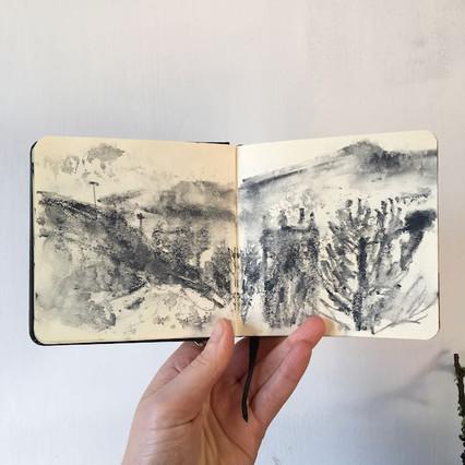 Watercolour Sketchbook Drawing of Marsden by Jo Blaker