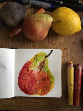 Watercolour Sketchbook Drawing of pear by Jo Blaker