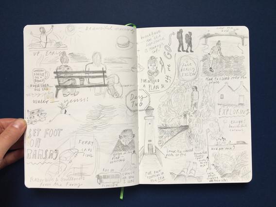 Visual Diary Pencil Drawings in Sketchbook by Jo Blaker