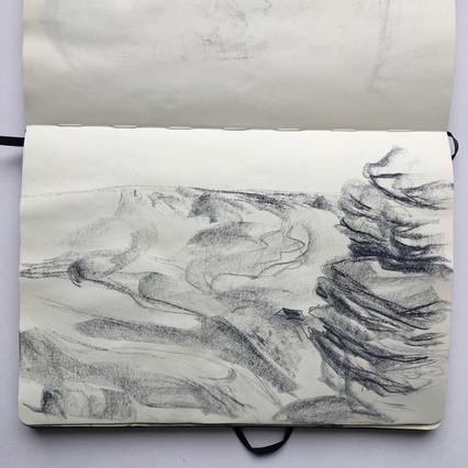 Pastel Sketchbook Drawing of moorland crags by Jo Blaker