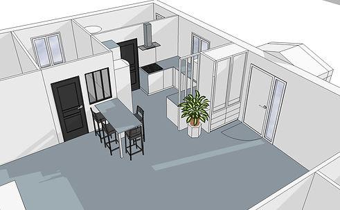 PROJET VICKY - Plan 3D cuisine version 2