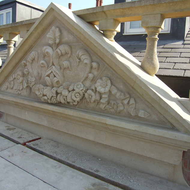 Stokes Hall pediment