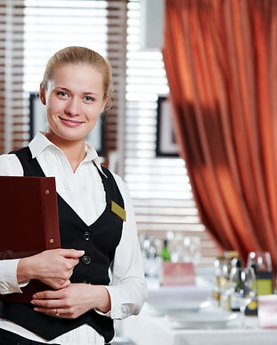 Happy beautiful restaurant manager woman