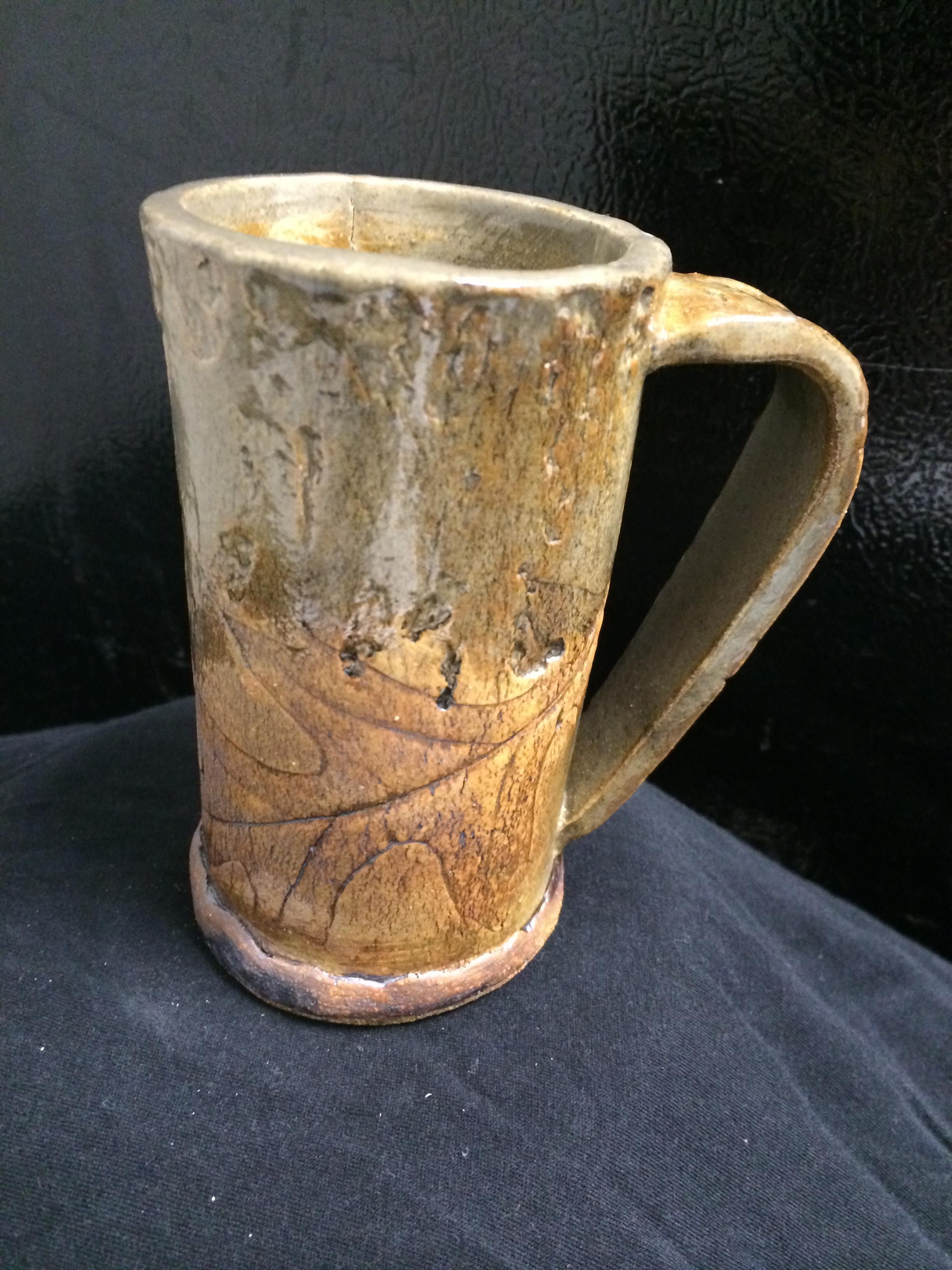 hand-built oak leaf mug