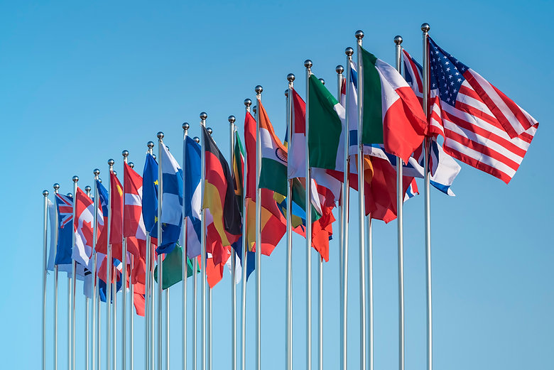 national flags of various countries flyi
