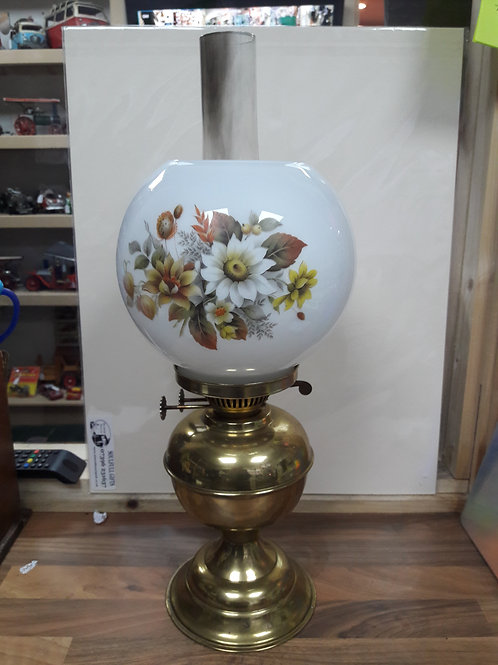 Vintage Brass Paraffin Lamp with Glass Floral Shade Nd Funnel