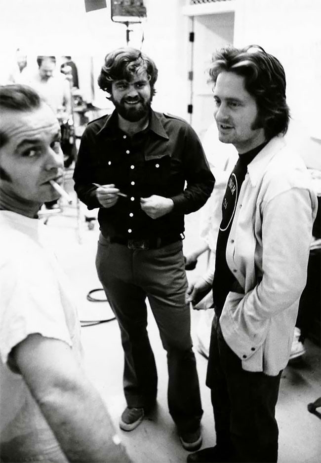 Jack Nicholson and Michael Douglas on the set of One Flew Over The Cuckoo's Nest