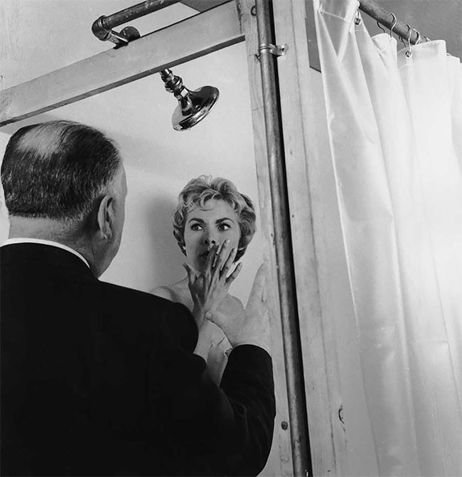 Alfred Hitchcock directing Janet Leigh on the set of Psycho