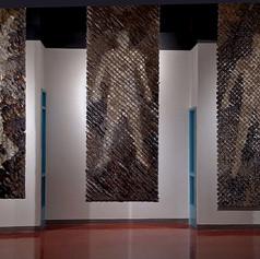 Tim Harding Instalation View Shroud Dupioni silk and organza  118 x 42 x 2d inches $14,000
