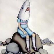 "Casey Riordan Millard Shark Girl by the Sea 44""h x 34""w 48""h x 38""w framed Watercolor & gouache $4,500"