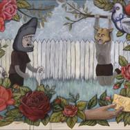 "Casey Riordan Millard May Joy Be Around You 2004 Acrylic on paper 22"" x 30""  Framed (25.5 x 33) $4000"