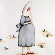 "Casey Riordan Millard Shark Girl with Child 30""h x 22""w 33.5"" h x 25.5""w framed Watercolor & gouache $3500"