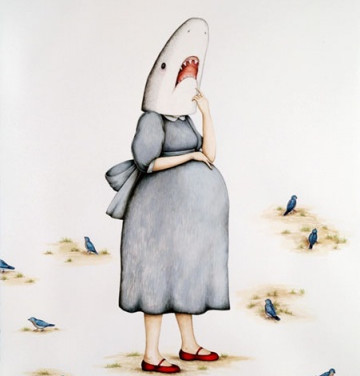 "Casey Riordan Millard Shark Girl with Child 30""h x 22""w 33.5"" h x 25.5""w framed Watercolor & gouache $3500"