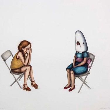 "Casey Riordan Millard Shark Girl at Meeting Mixed media 12.5"" x 16"" Framed SOLD"