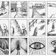 "Casey Riordan Millard Come Follow Me II 8""h x 21""w 11""h x 24""w framed India ink $1,800 (pair I&II)"