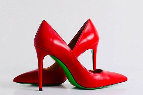 Red Matte leather pump with green leather sole