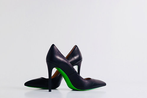 Black Matte leather pump with green leather sole
