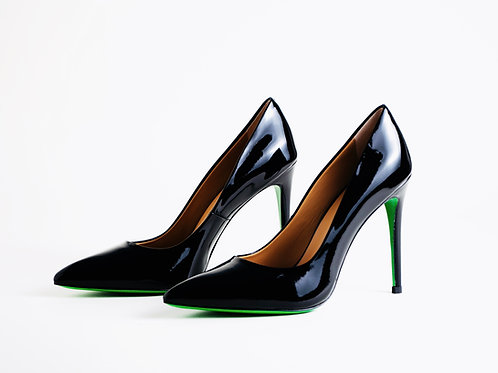 Black patent Leather Pumps with leather Green Soles